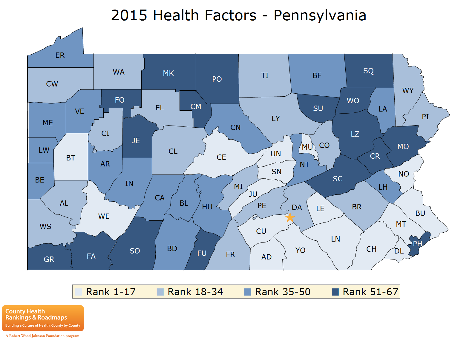 2015 Health Factors - Pennsylvania